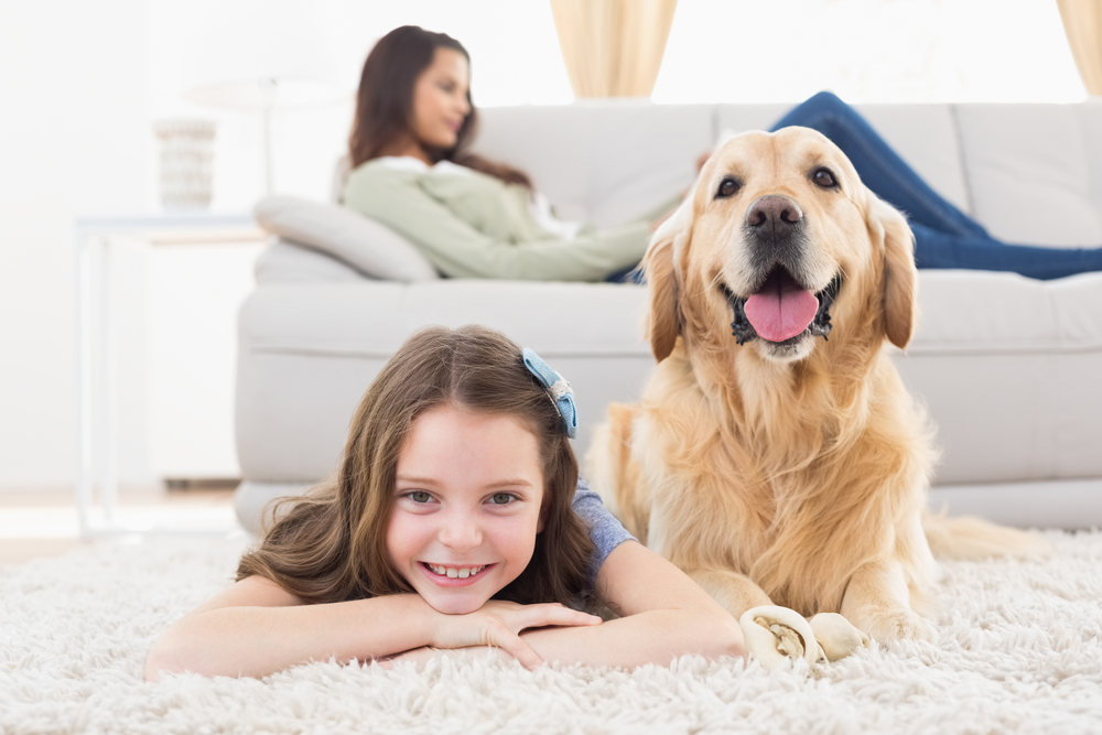 Portrait of happy girl with dog lying on rug while mother relaxing at home-2