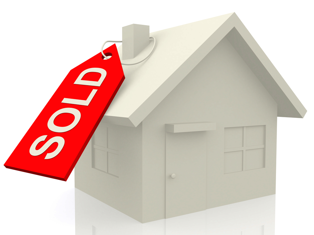 3D Sold house - isolated over a white background