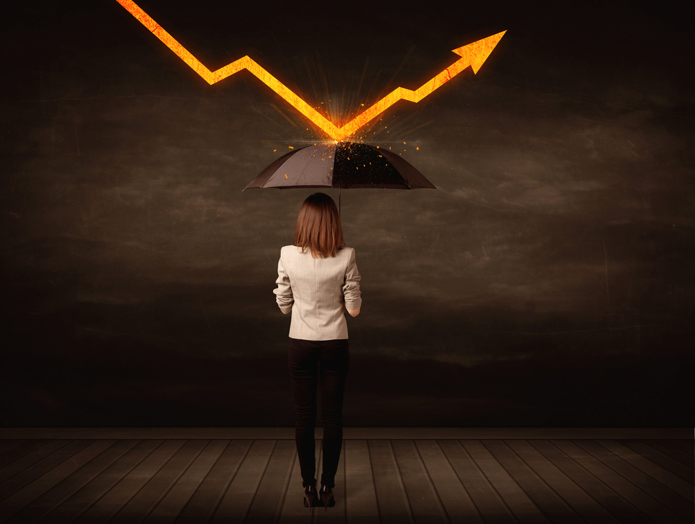 Businesswoman standing with umbrella keeping orange arrow concept on background