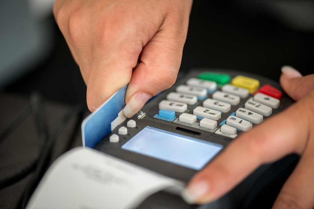 Debit card swiping on pos terminal