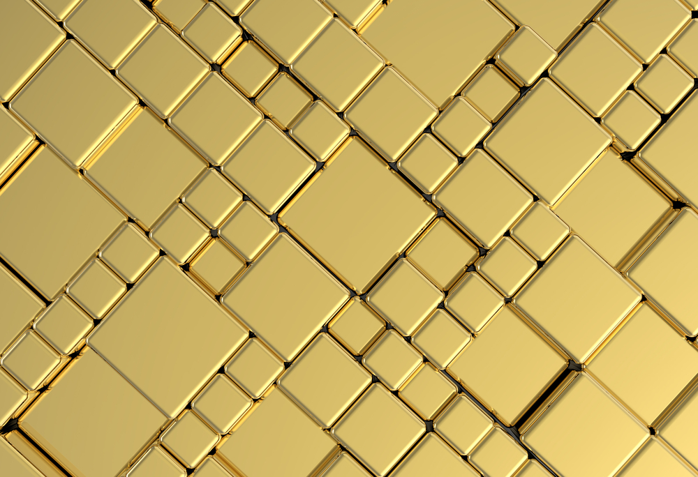 Gold metal plate background or texture