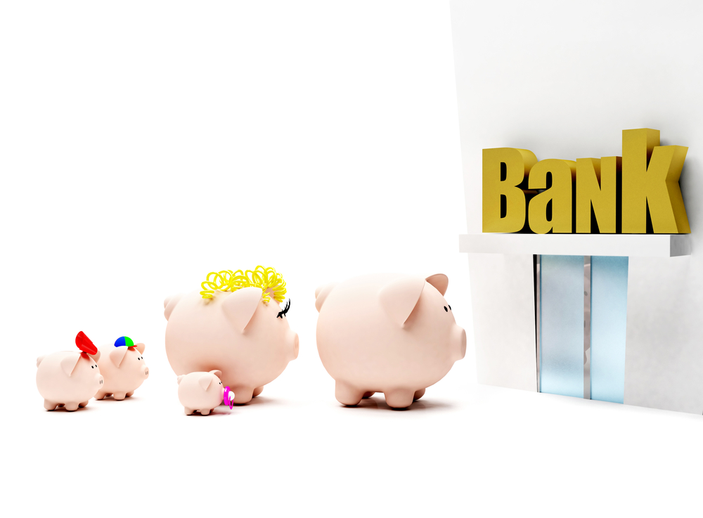 Piggybank family in line to enter the bank isolated over a white background